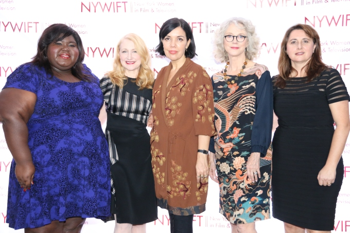 From left to right: Gabourey Sidibe, Patricia Clarkson, Sarah Barnett, Blythe Danner, Victoria Alonso. Photo Credit: Rowena Husbands